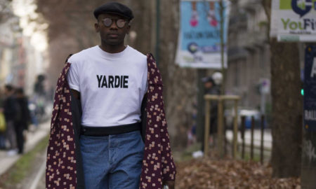 Feature image of Geoff K. Cooper photographed by Abdel Abdulai (Boy From Dagbon) in Milan for Sagaboi, wearing Andrea Pompilio and Sagaboi Yardie T-Shirt.