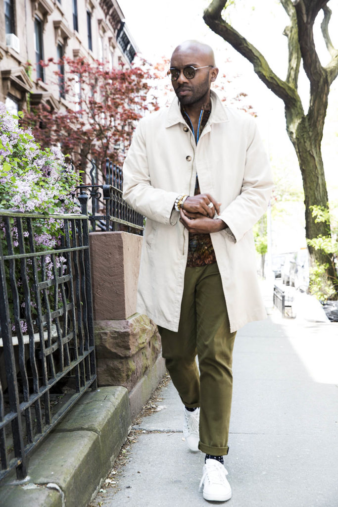 Geoff K. Cooper photographed by Marco Vazquez for a men's short sleeve shirt blog story. (Look 7 - Macintosh Coat)