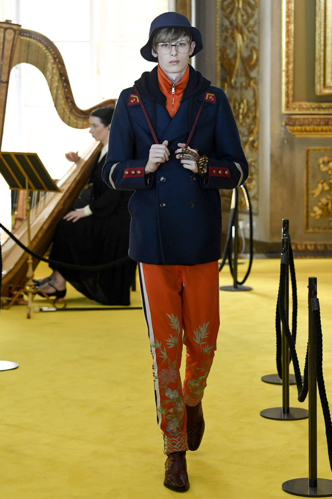 Look 87 - Gucci Resort (Cruise) 2018 Fashion Show at the Palatina Gallery in Florence's Pitti Palace in Italy.