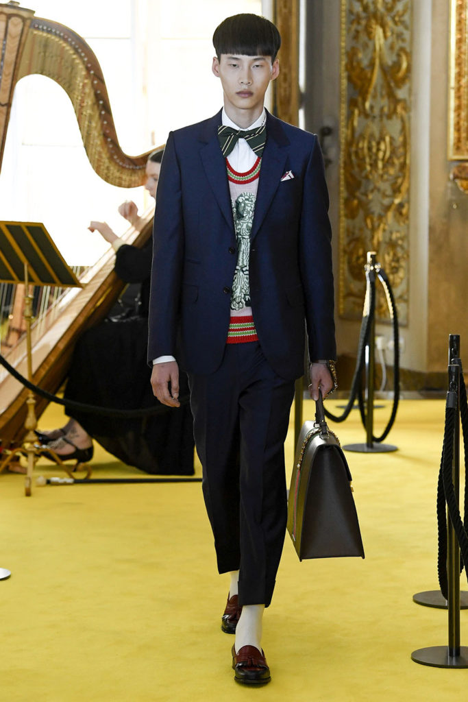 Look 98 - Gucci Resort (Cruise) 2018 Fashion Show at the Palatina Gallery in Florence's Pitti Palace in Italy.