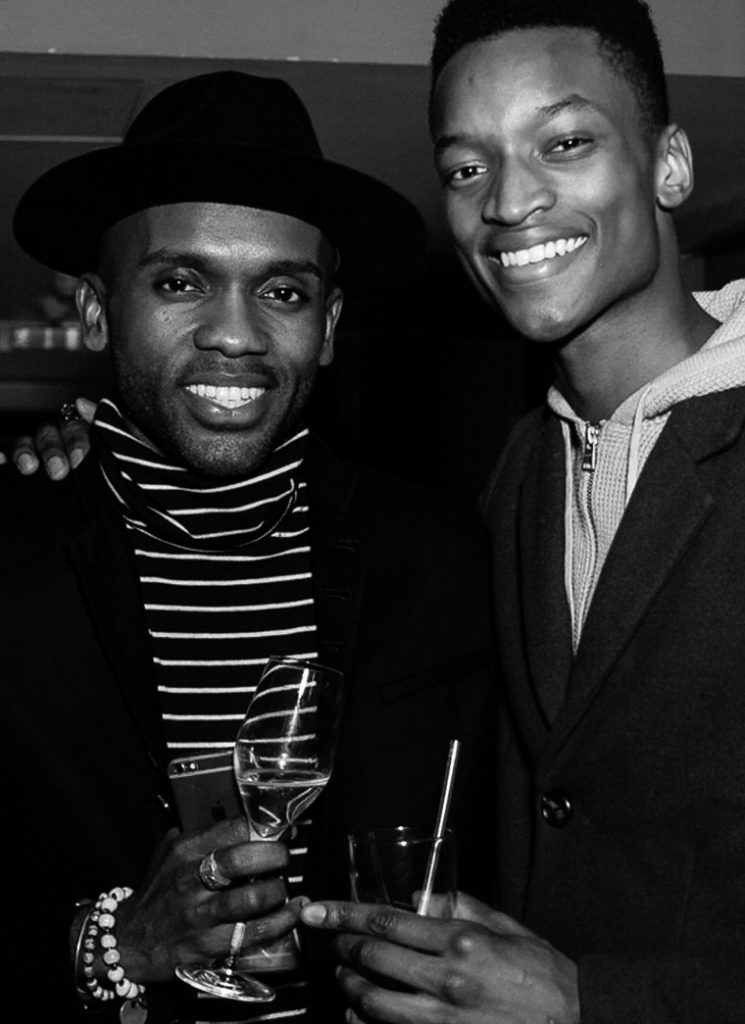 Geoff K. Cooper and Oliver Kumbi at the Sagaboi drinks party during LFWM held at the Andaz Hotel, Liverpool Street.