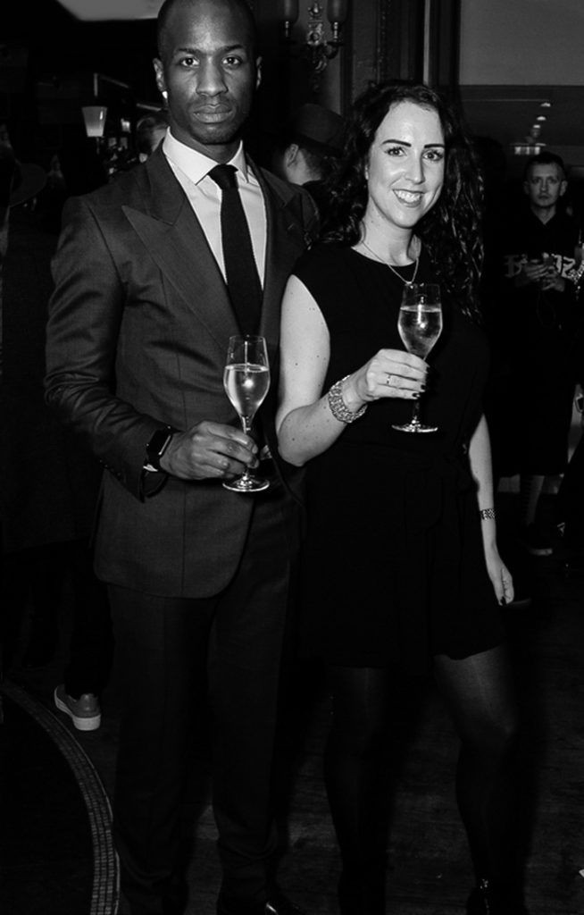 Anton Welcome and Lorna at the Sagaboi drinks party during LFWM held at the Andaz Hotel, Liverpool Street.