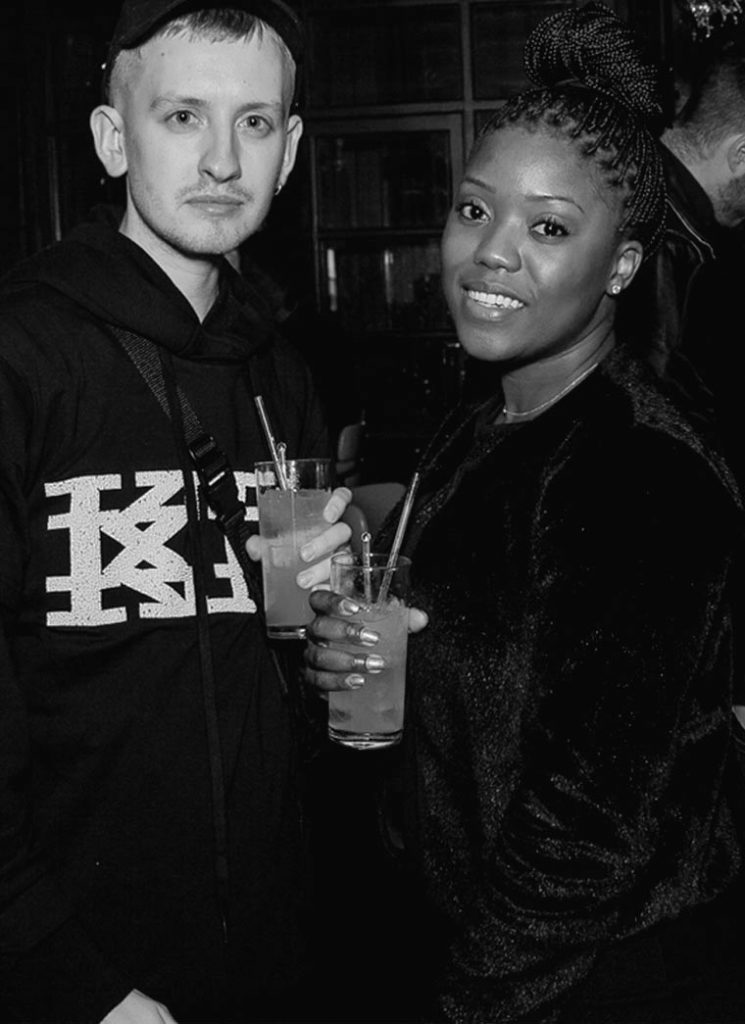 Guest and Annette Mazinyi at the Sagaboi drinks party during LFWM held at the Andaz Hotel, Liverpool Street.