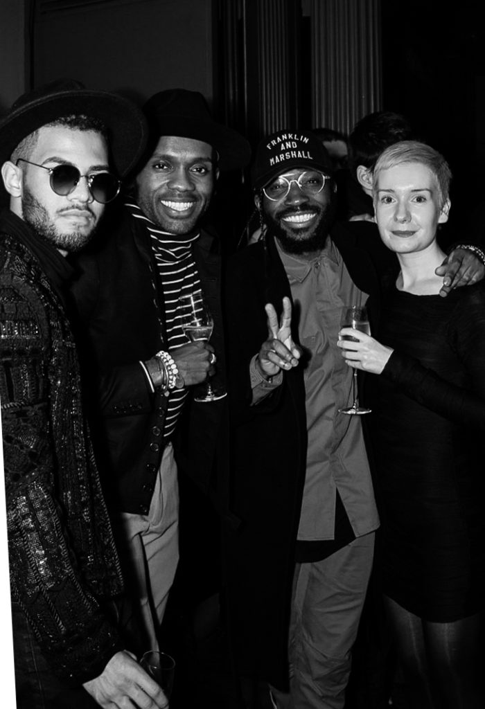 Lawrence Booker, Geoff Cooper, Charley van Purpz, Sarah Jane Barnes at the Sagaboi drinks party during LFWM held at the Andaz Hotel, Liverpool Street.