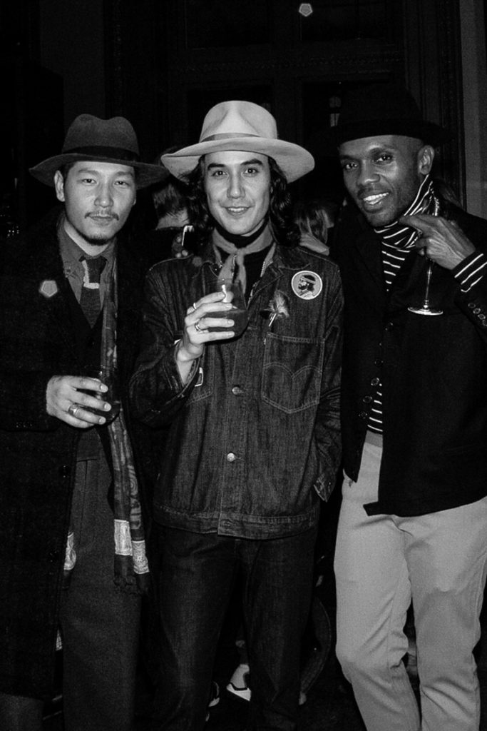 Eshan Kali, Galih Richardson, Geoff K. Cooper at the Sagaboi drinks party during LFWM held at the Andaz Hotel, Liverpool Street.