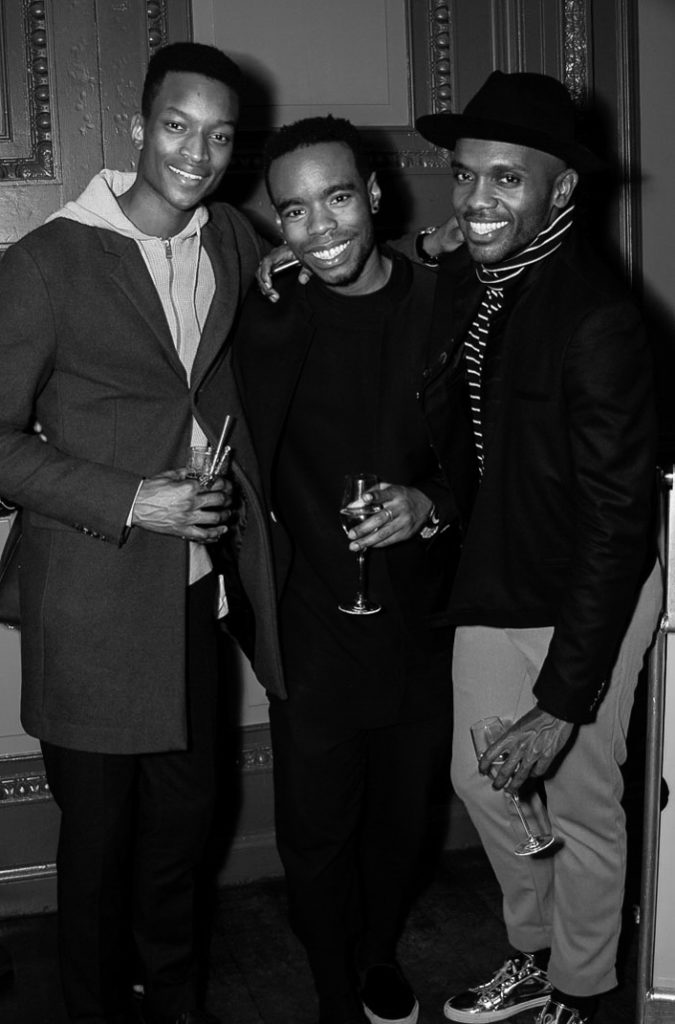 Oliver Kumbi, Andrew Barber (Omni Style) and Geoff K. Cooperat the Sagaboi drinks party during LFWM held at the Andaz Hotel, Liverpool Street.