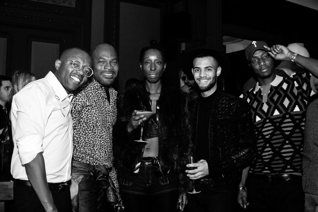 James Kahuri, Adrian Richards, Eunice Olumide and Lawrence Booker at the Sagaboi drinks party during LFWM held at the Andaz Hotel, Liverpool Street.