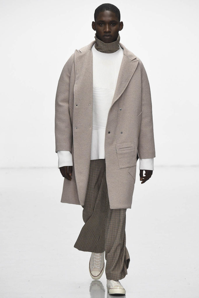 Ola Mofara modeling for Agi and Sam AW16 men's fashion show at London Fashion Week Men's (LFWM)