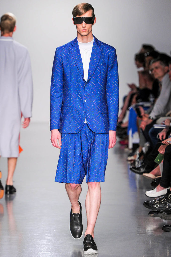 Model for Agi and Sam SS14 men's fashion show at London Fashion Week Men's (LFWM)
