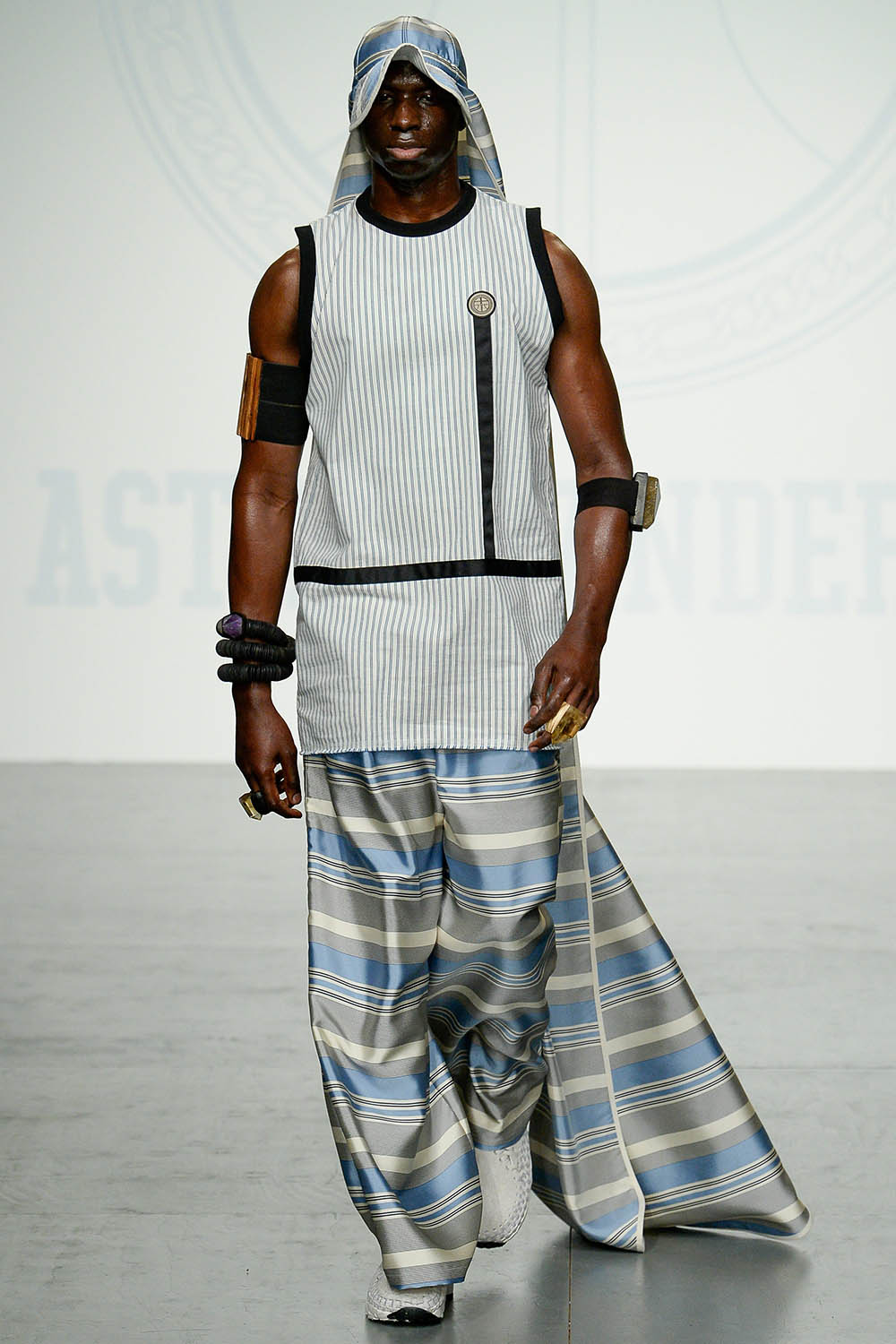 Model walking the catwalk at Astrid Andersen SS18 men's fashion