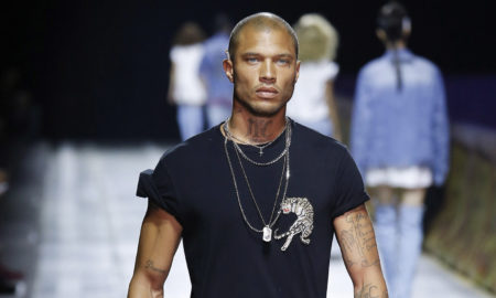 Jeremy Meeks walking the catwalk at Philipp Plein SS18 men's fashion show at Milan Fashion Week (MFW)