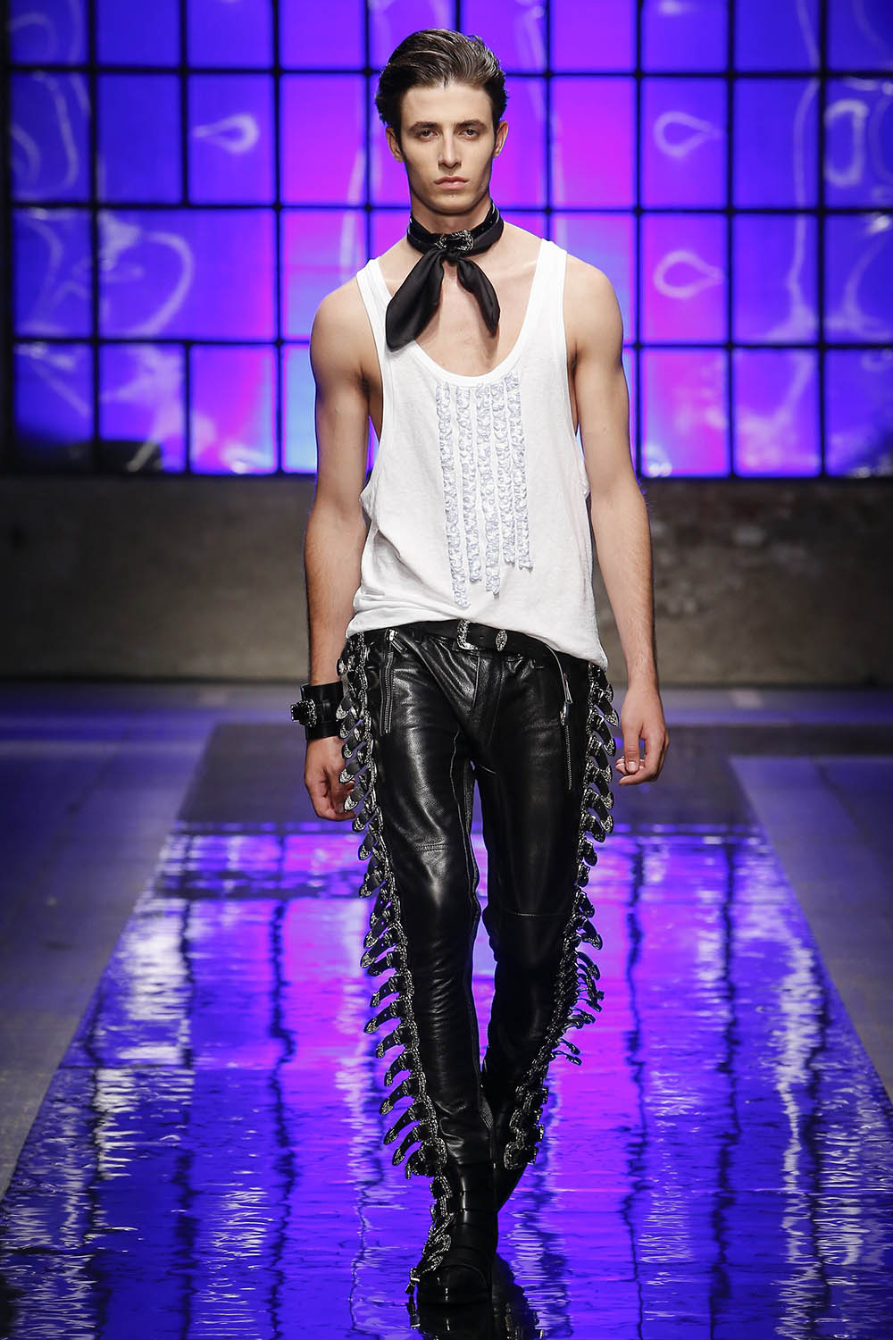 Model walking the catwalk at DSquared2 (by Dean and Dan Caten) S