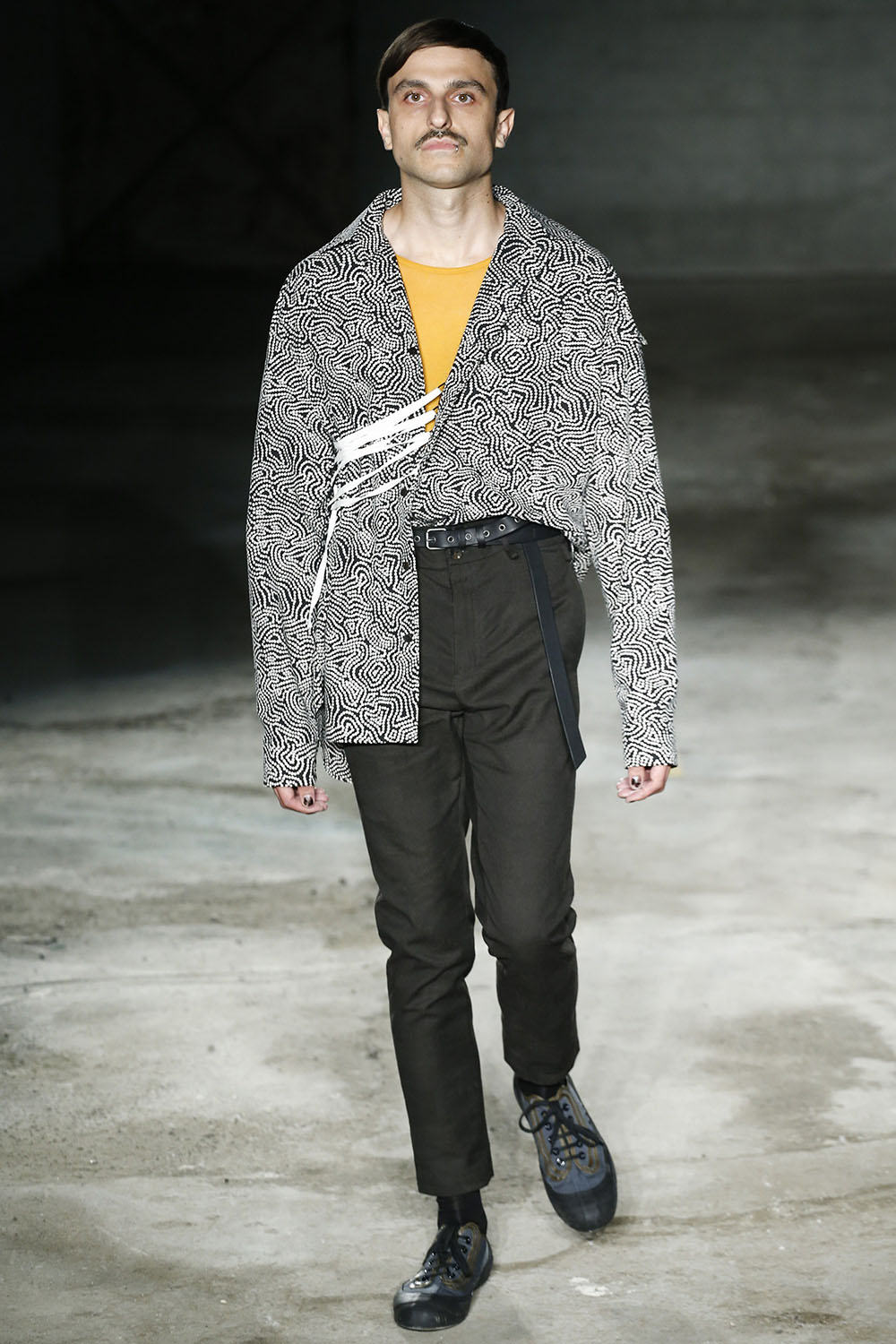 Male model walking the catwalk at the Damir Doma SS18 men's fash