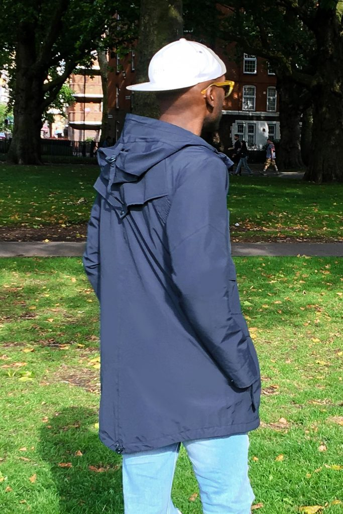Geoff K. Cooper wearing Nobis Weldon Raincoat. (Street Style Look)