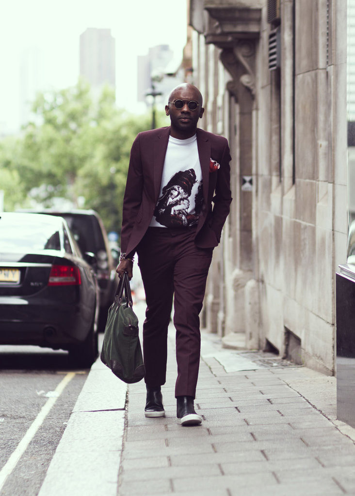 Sagaboi Street Style. Geoff K. Cooper photographed by Mr. Smith (Jide Smith, JJ Smith) outside the SS18 men's fashion shows at London Fashion Week Men's (LFWM).