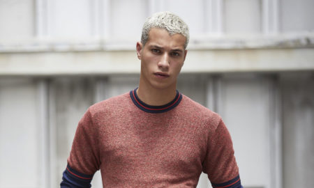 Perry Ellis SS18 Collection. Male model, Gabriel Viera walking the catwalk at the Perry Ellis men's fashion show during New York Fashion Week Men's (NYFWM)