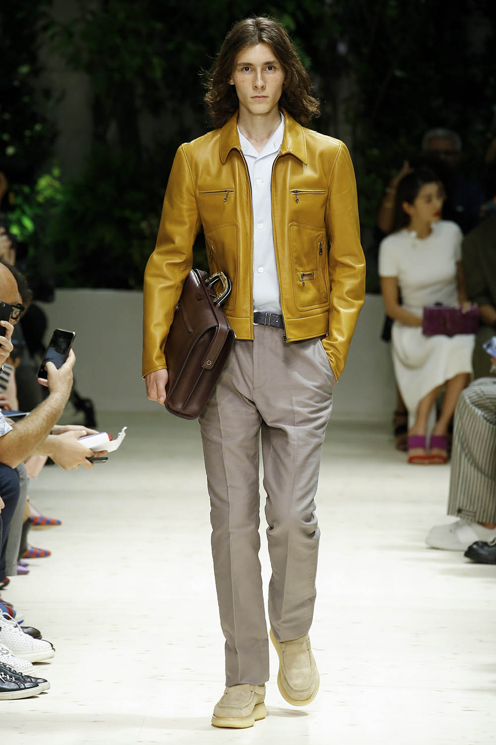 Model walking the catwalk at Salvatore Ferragamo SS18 men's fash