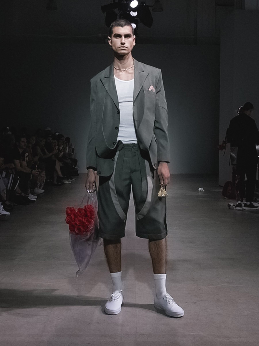 Sanchez-Kane SS18. Male model walking the catwalk at Sanchez-Kan