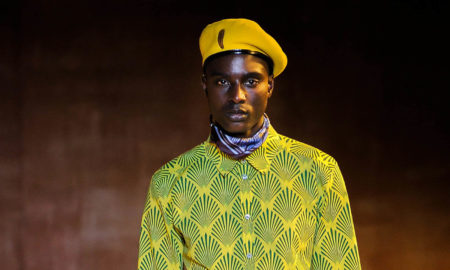 Black male model walking the catwalk at Teddy Ondo Ella SS18 men's fashion show at New York Fashion Week Men's (NYFWM)