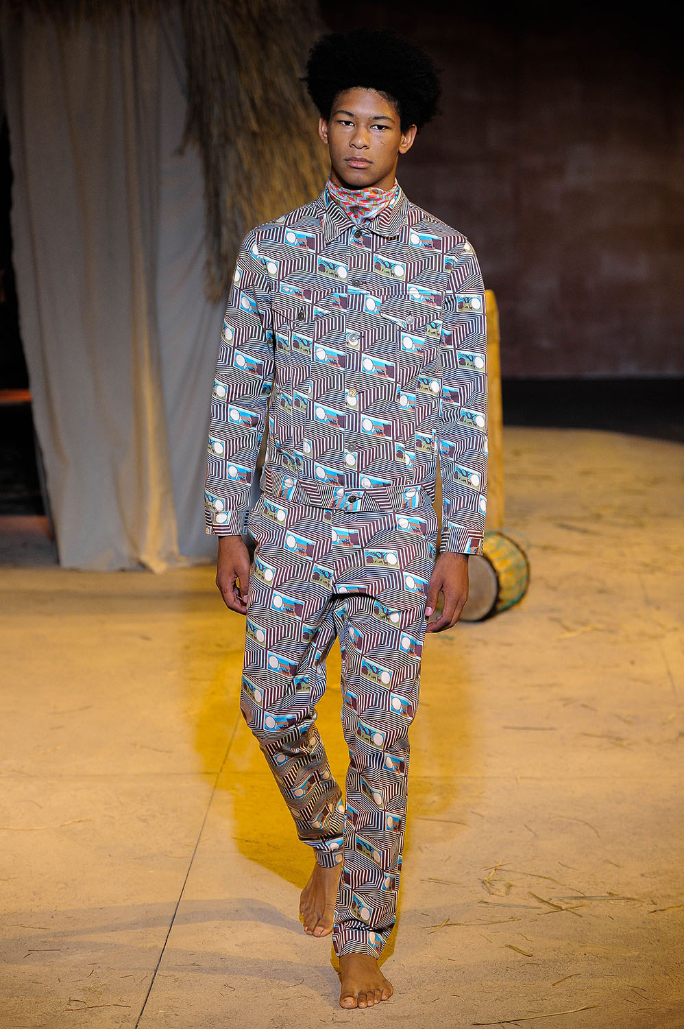 Male model walking the catwalk at Teddy Ondo Ella SS18 men's fas