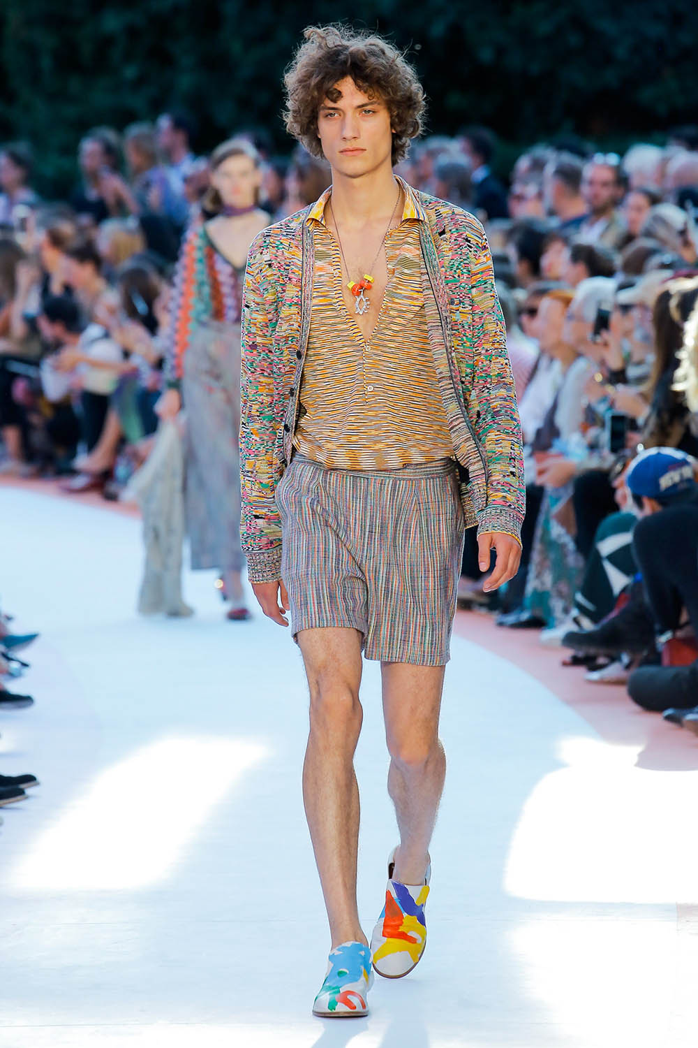 Model walking the catwalk at Missoni (by Angela Missoni) SS18 me