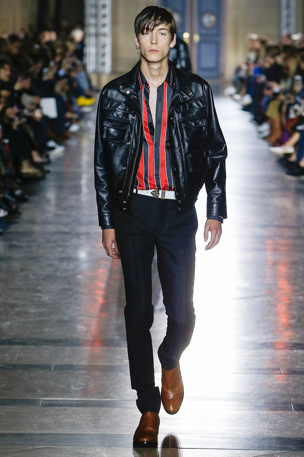 Male model walking the catwalk at Givenchy SS18 men's fashion sh