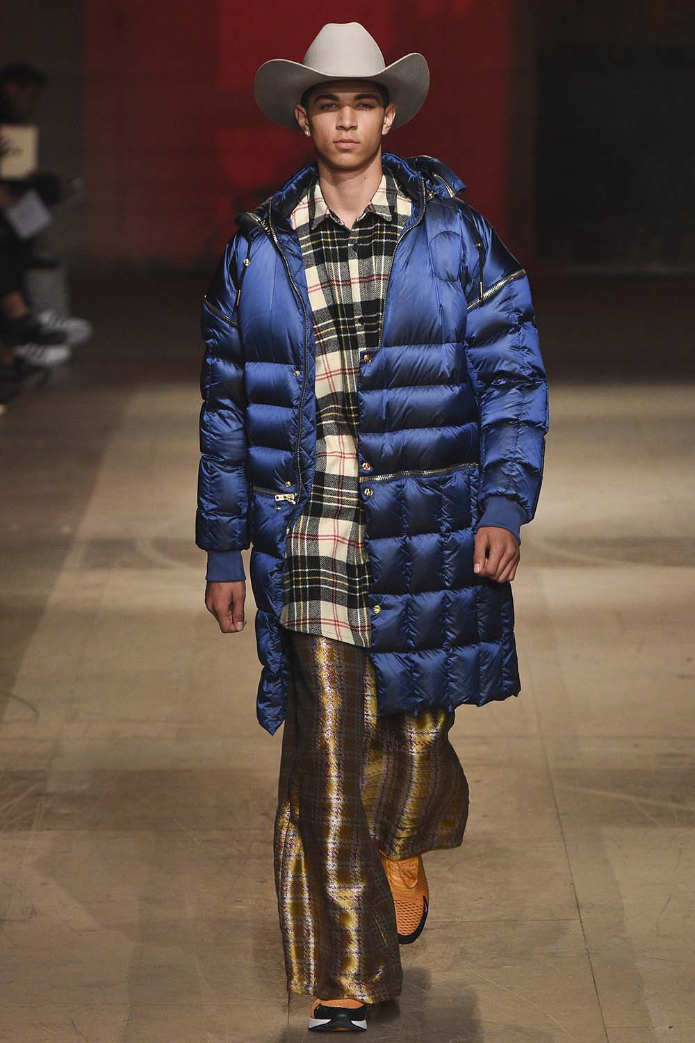 Male model walking the catwalk at Astrid-Andersen Fall Winter 18