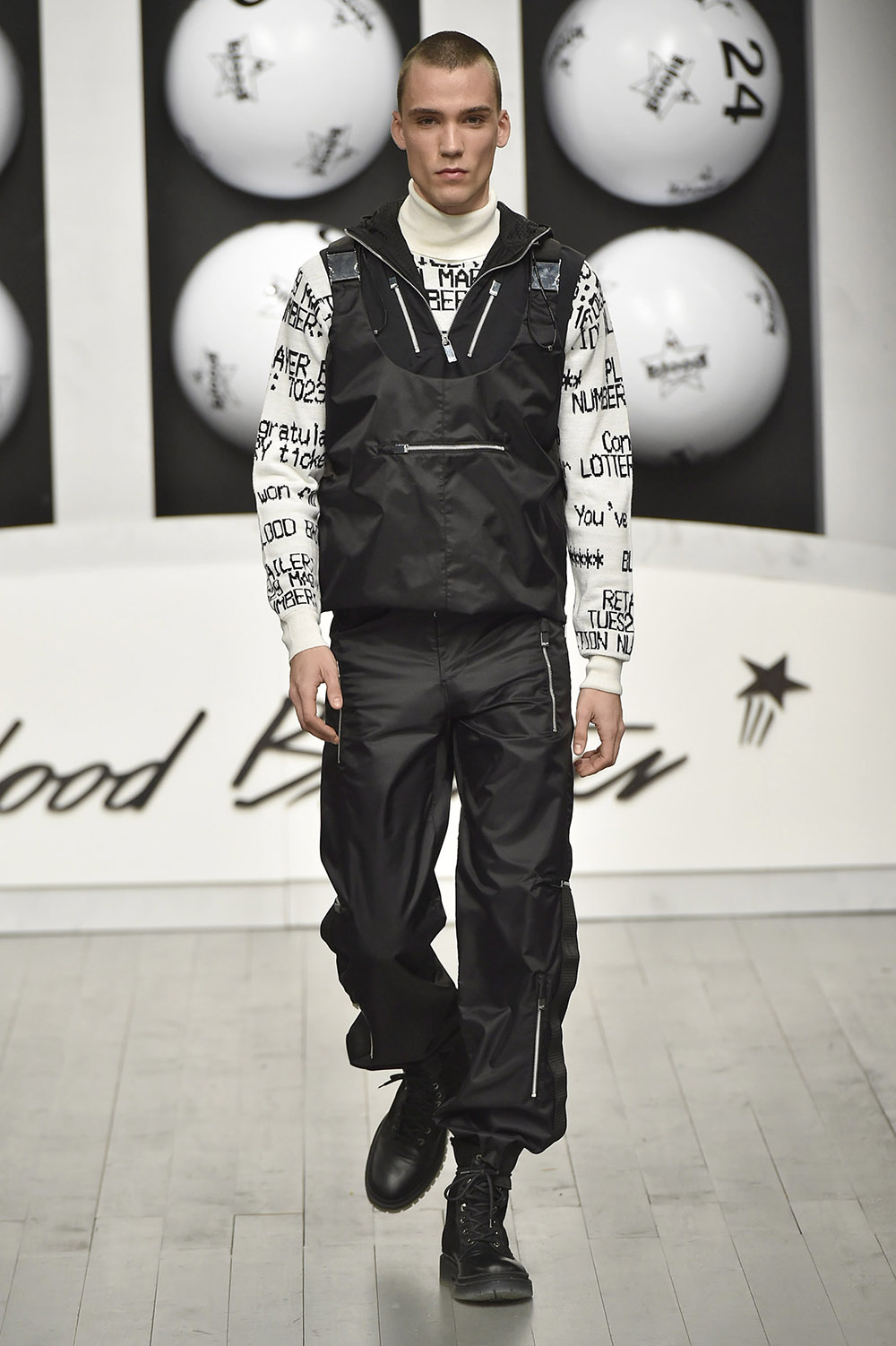 Male model walking the catwalk at Blood Brother Fall Winter 18 m