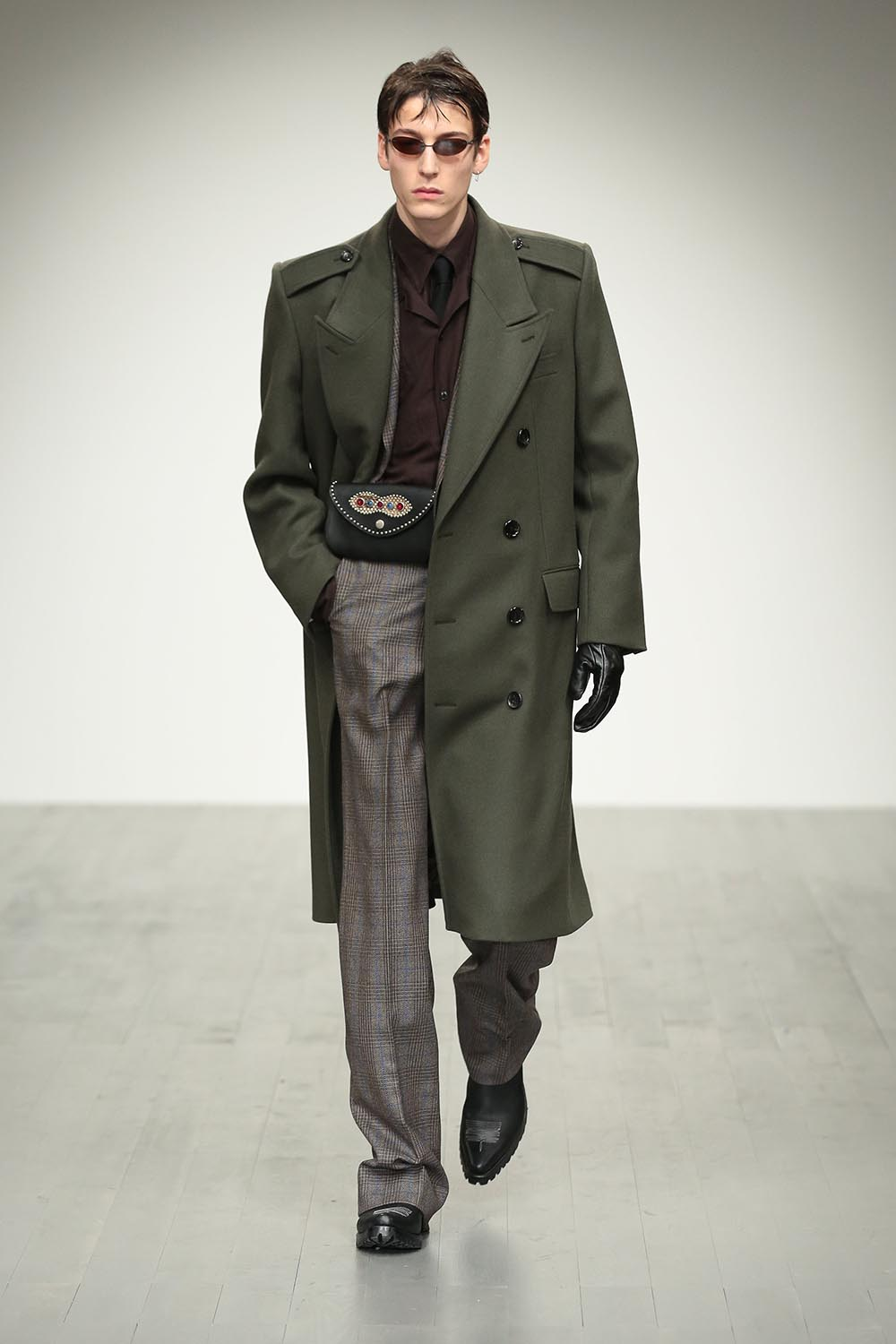 Male model walking the catwalk at John Lawrence Sullivan Fall Wi
