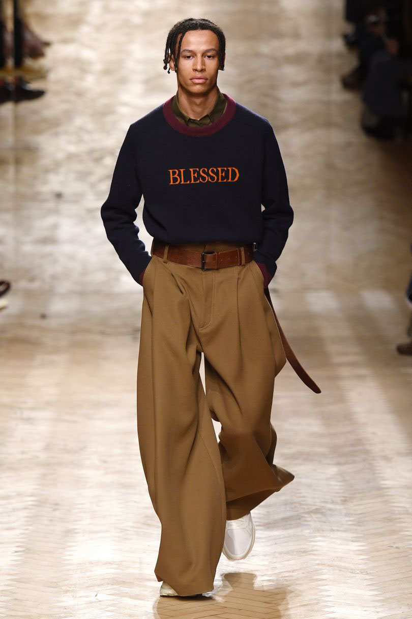 Male model walking the catwalk at Qasimi Fall Winter 18 men's fa