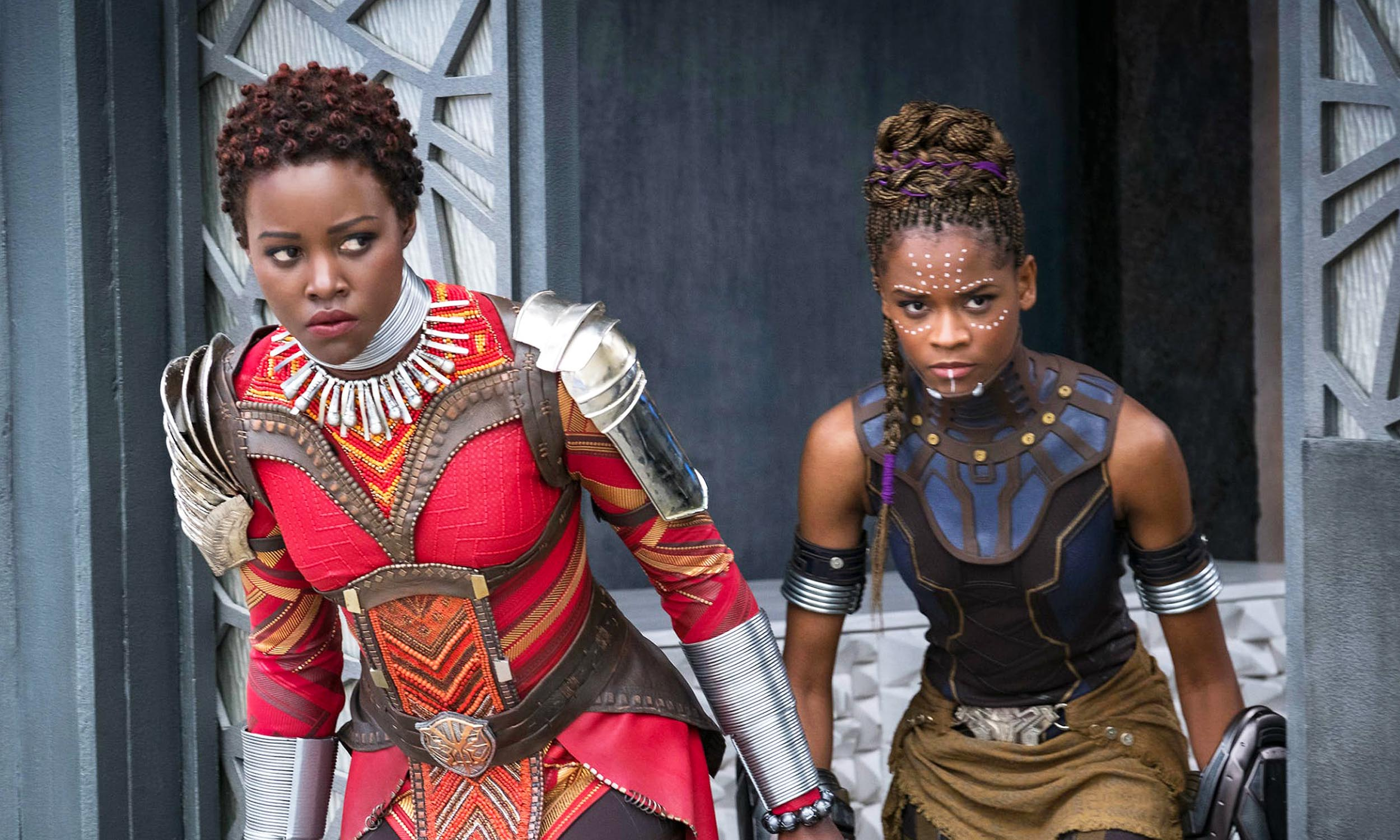Black Panther - Scene from Marvel Studios Black Panther - Nakia and Shuri - Lupita Nyong'o and Letitia Wright; #WakandaForever, #WhatBlackPantherMeansToYou