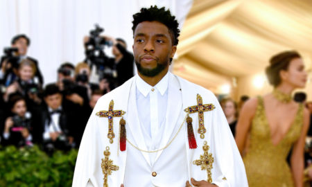 Chadwick Boseman attends the 2018 Met Gala in Versace. The Metropolitan Museum of Art fundrasier on May 7, 2018 in New York City under the theme: Heavenly Bodies: Fashion & The Catholic Imagination.