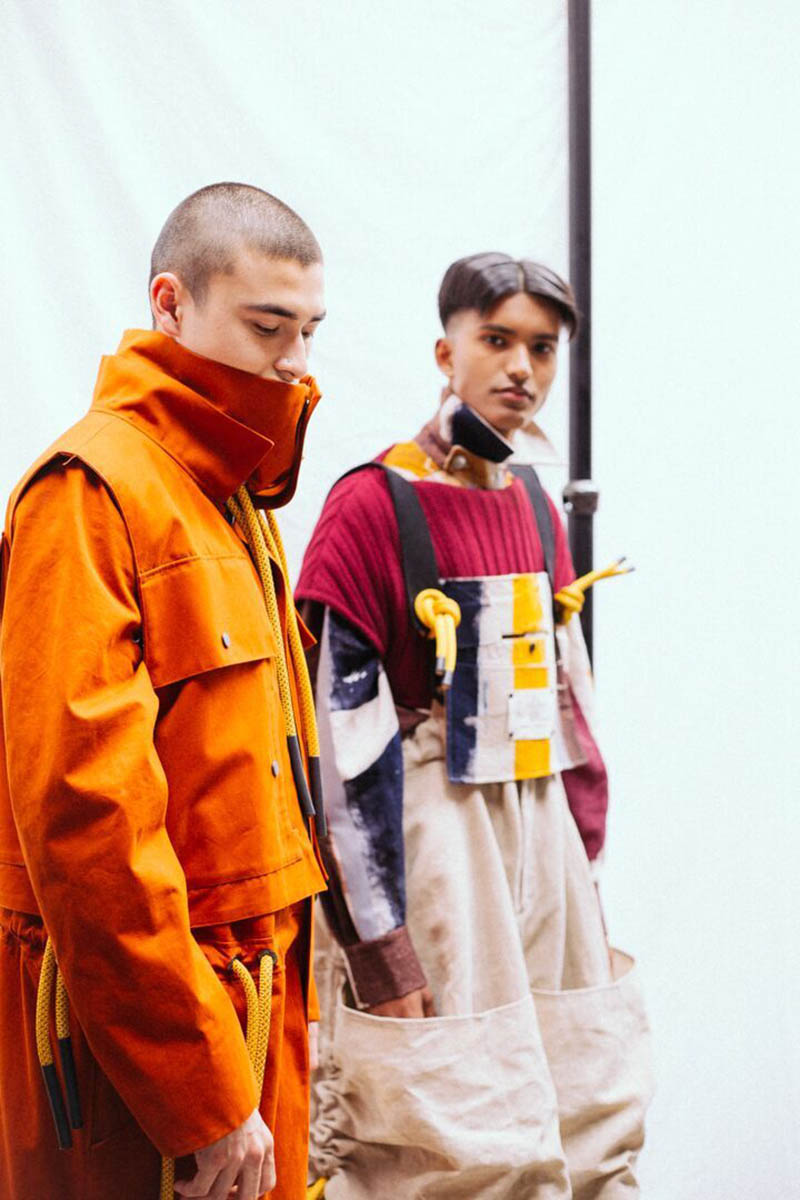 Tow models at Catherine Denniss show. Sagaboi's top 10 menswear designers at Graduate Fashion Week. Photography by Jade Berry
