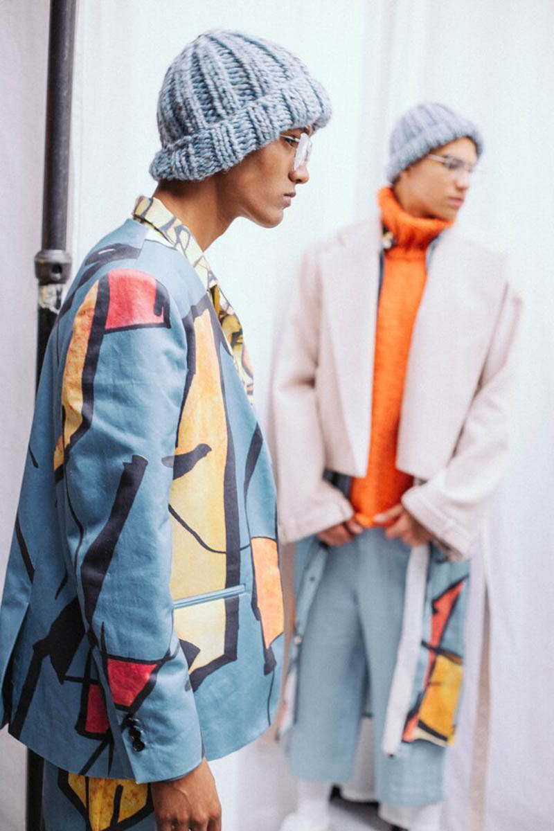 Two male models at Josephine Goh GFW show. Sagaboi's top 10 menswear designers at Graduate Fashion Week. Photography by Jade Berry
