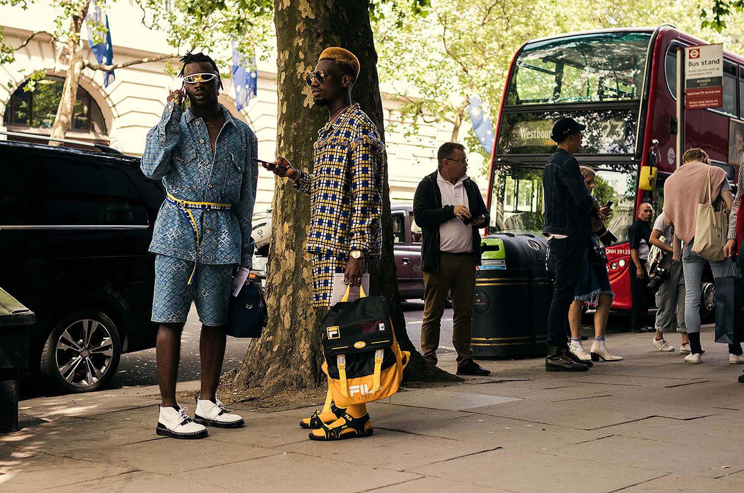 Ramario Chevoy captured outside the men's fashion shows at London Fashion Week Men's. (LFWM Street Style by Olajide (JJ) Smith (Spotted By Mr. Smith for Sagaboi. Diversity in Street Style. Representation in stock imagery.