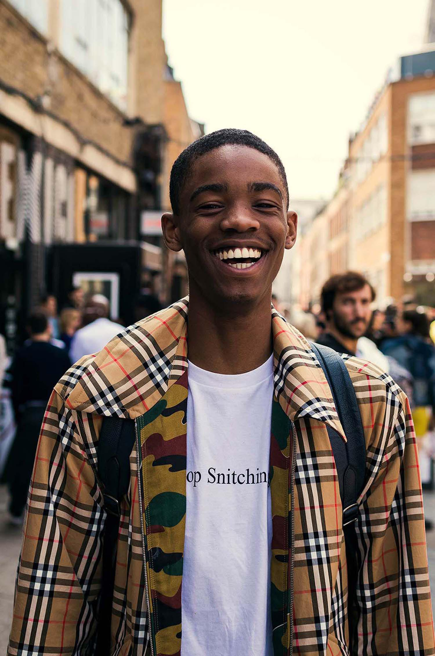 Male model, Montell Martin captured outside the men's fashion shows at London Fashion Week Men's. (LFWM Street Style by Olajide (JJ) Smith (Spotted By Mr. Smith for Sagaboi. Diversity in Street Style. Representation in stock imagery.