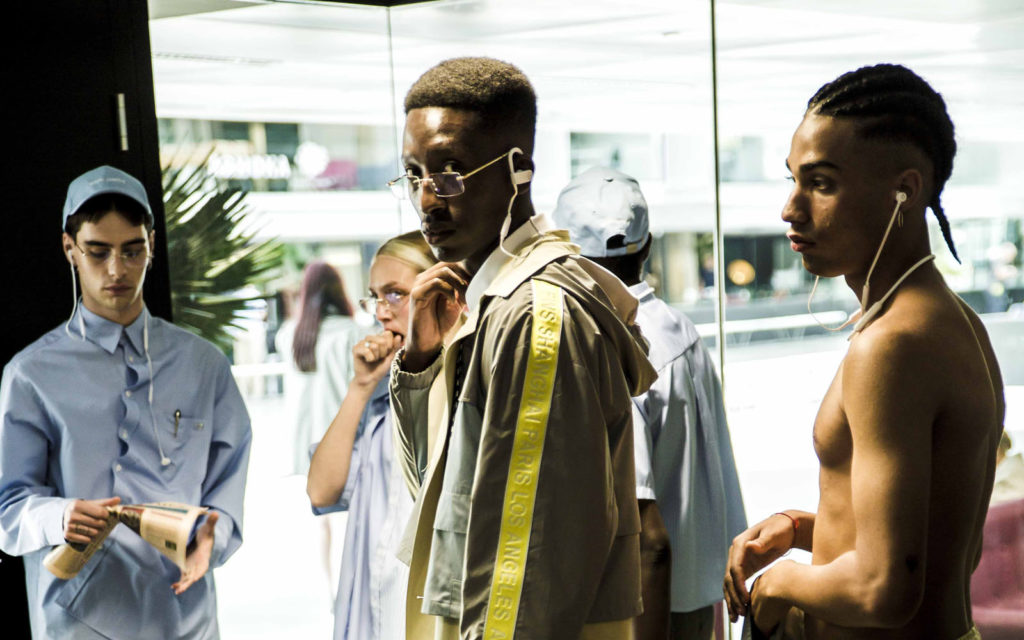 Andrea Crews Spring Summer 2019 Presentation in Paris at Paris Fashion Week (PFW). Sagaboi.com. Male model backstage at the Andrea Crews show. Dramane Diawara photographed by Coeval.