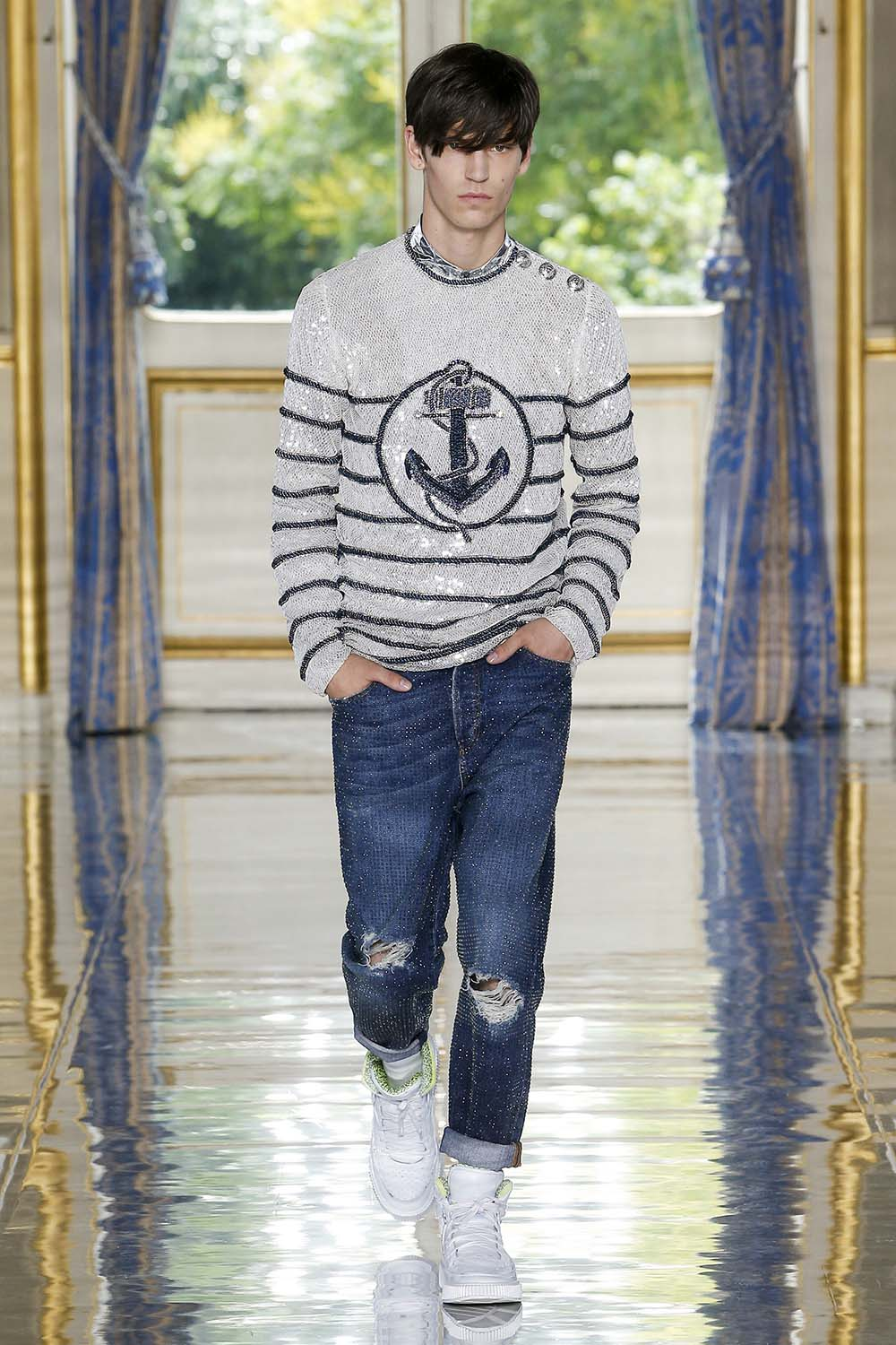 Balmain Paris Fashion Week Men's SS19 - Sagaboi - Look 17